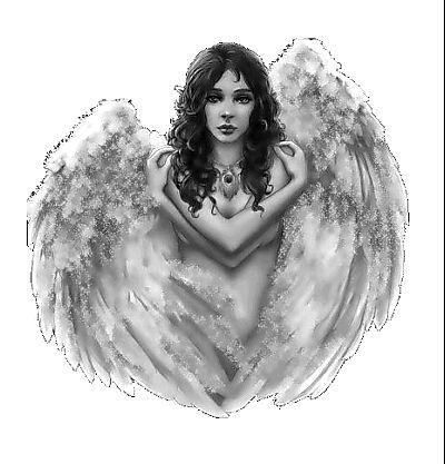 Anioł kobieta wzór tatuażu