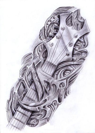 Biomechanika gryf gitary wzór tatuażu