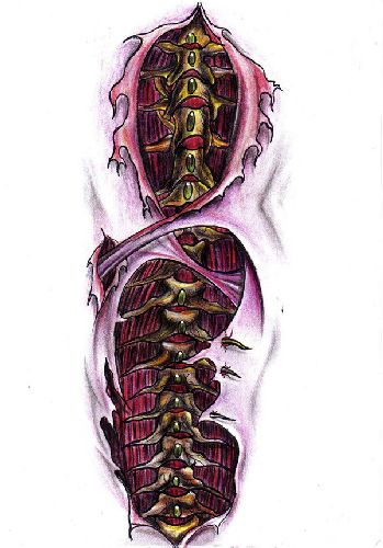 Biomechanika kręgosłup wzór tatuażu