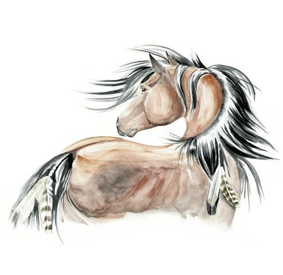 Brązowy koń z czarną grzywą