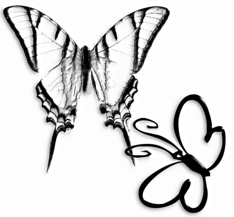 Czarny wzór tatuażu z motylami