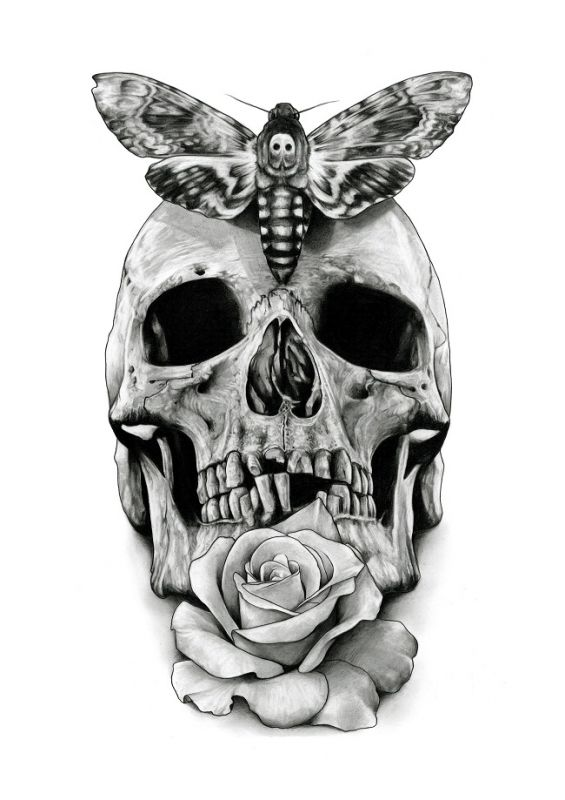 Czaszka motyl i róża wzór tatuażu