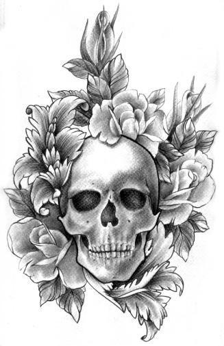Czaszka Otoczona Kwiatami Wzór Tatuażu