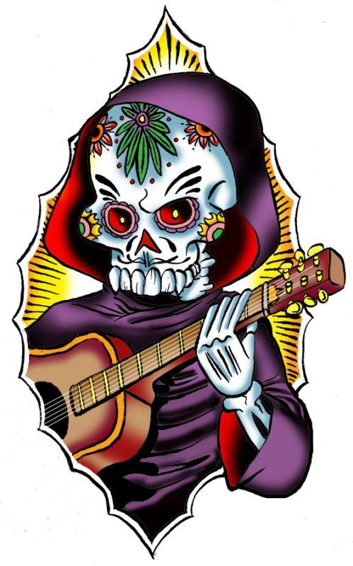 Czaszka w kapturze z gitarą wzór