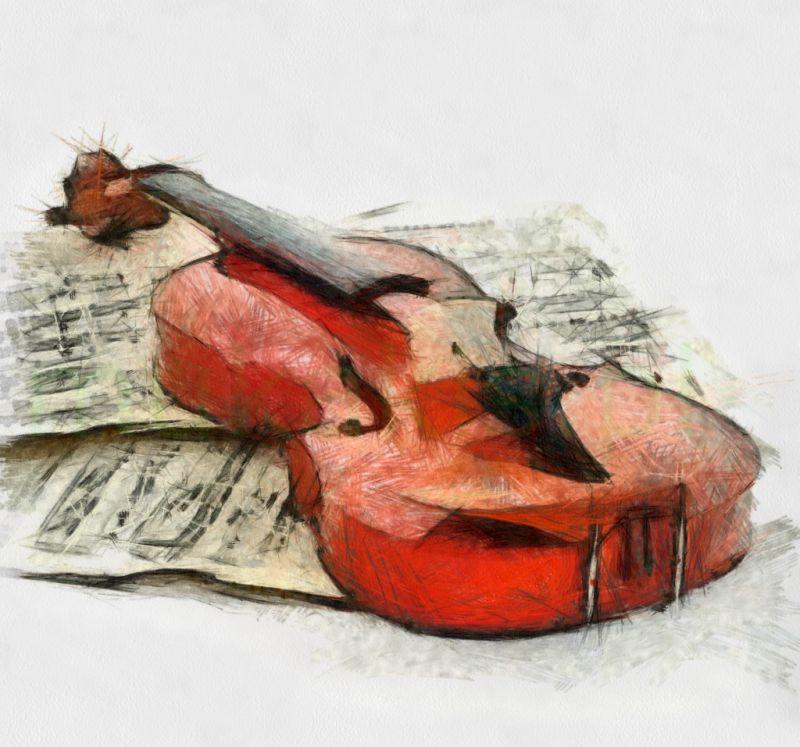 Czerwone skrzypce wzór tatuażu
