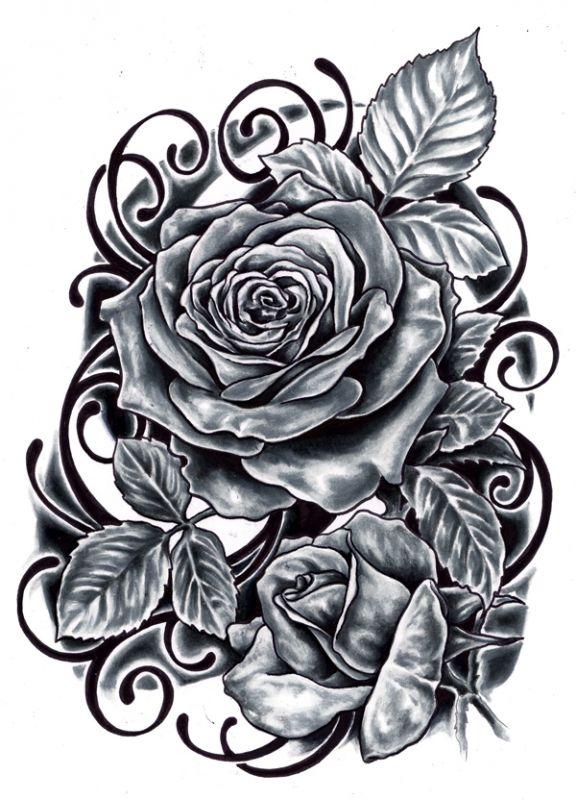Dwie róże tatuaż wzór