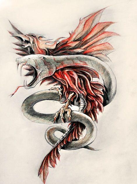 Feniks i wąż wóżr tatuażu