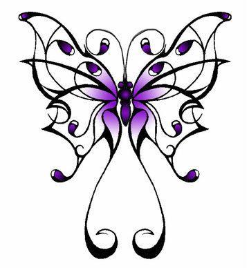 Fioletowo-czarny tribal motyl