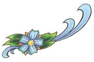 Niebieska stokrotka wzór tatuażu