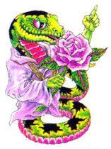 Zielony wąż i róża wzór tatuażu