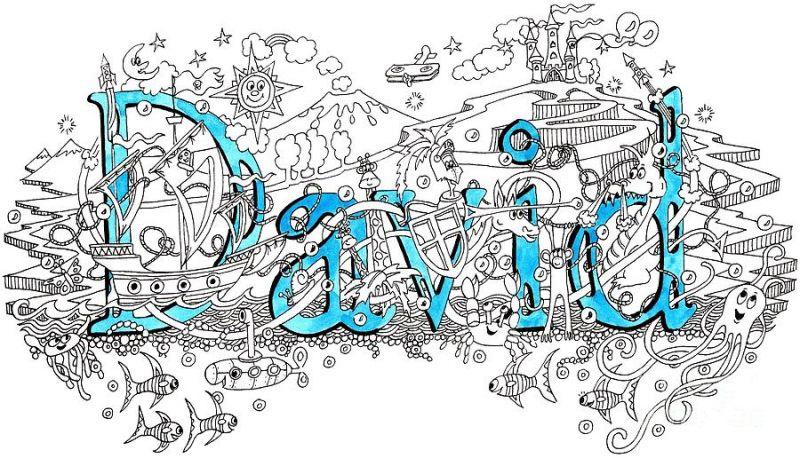 Imię David wzór tatuażu