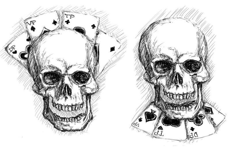 Karty do gry i czaszka wzór