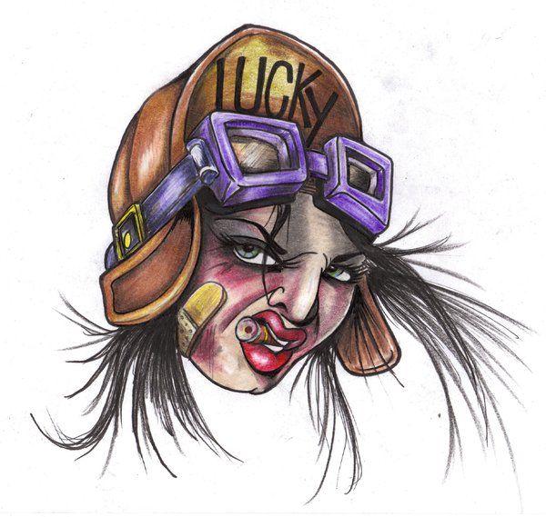 Kobieta pilot wzór tatuażu