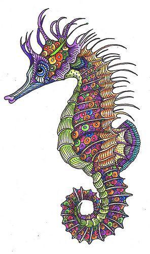 Kolorowy konik morski wzór