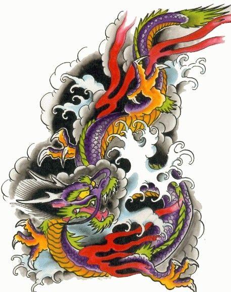 Kolorowy smok chiński wzór tatuaż