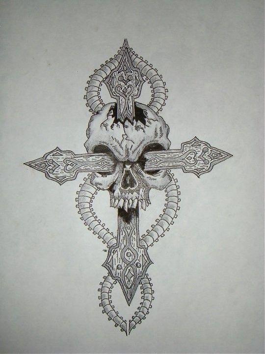 Krzyż z czaszką wzór tatuażu