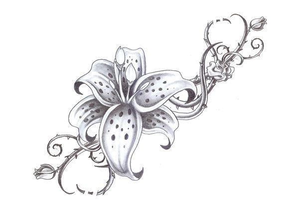 Lilia i kolce róży wzór tatuażu