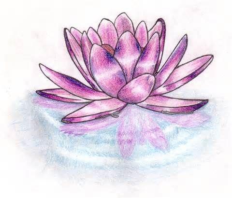 Różowy lotus na wodzie tatuaż wzór