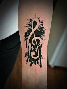 Klucz wiolinowy tatuaż