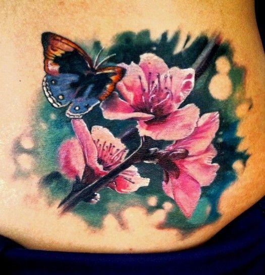 Motyl I Kwiaty Wiśni Tatuaż