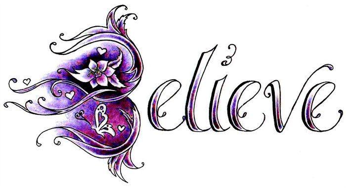 Napis belive wzór tatuażu