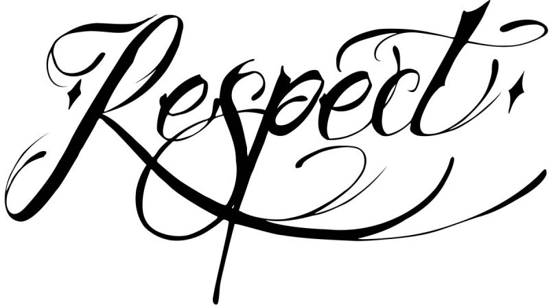 Napis respect wzór na tatuaż
