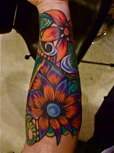 Pomarańczowe Kwiaty Tatuaż Ręka