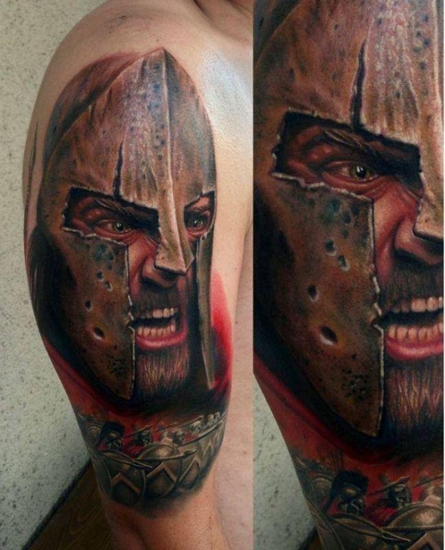 Głowa wojownika tatuaż