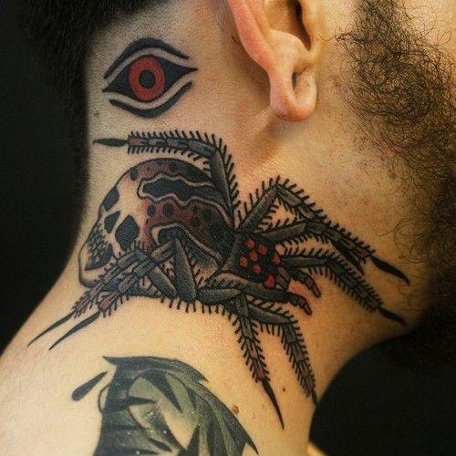 Pająk I Czaszka Tatuaż Na Szyi