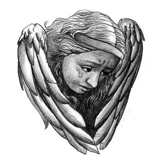 Płaczący Anioł Wzór Na Tatuaż