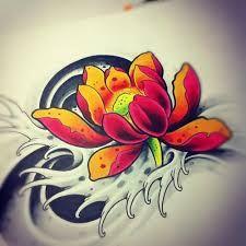 Pomarańczowy lotus wzór tatuażu