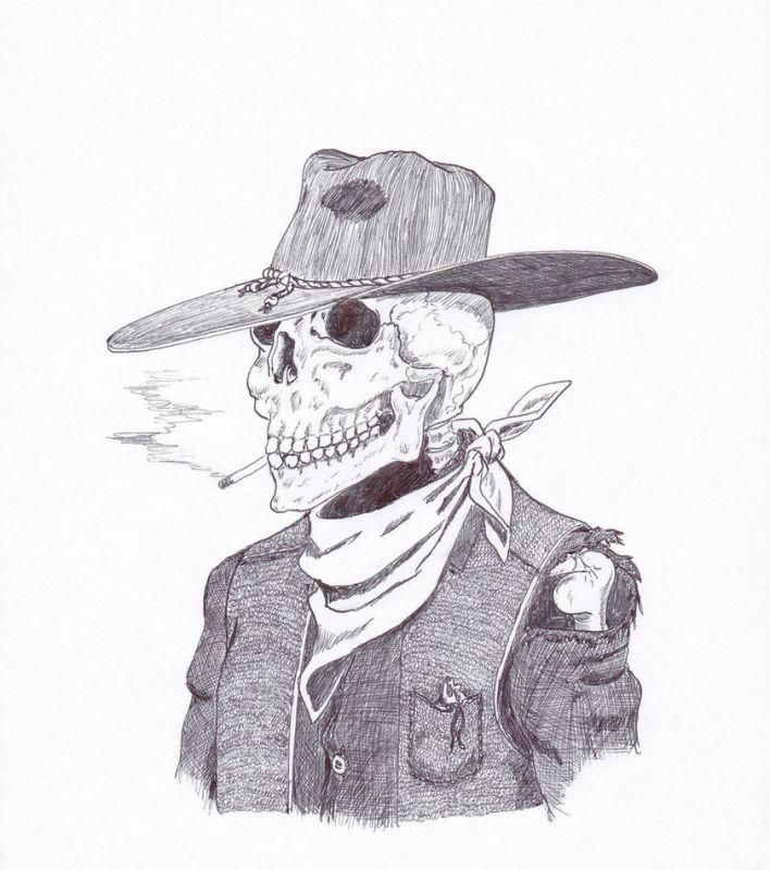 Postać w kapeluszu wzór tatuażu
