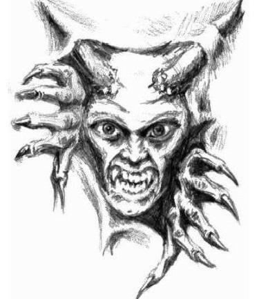 Potwór z rogami wzór tatuażu