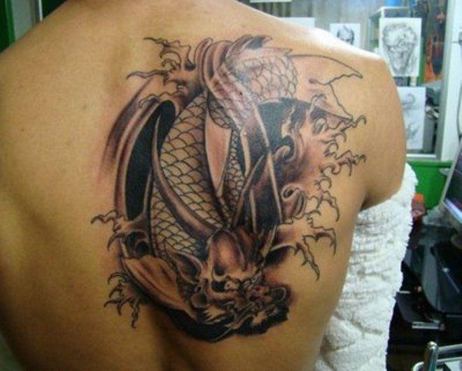 Ryba Z Głową Smoka Tatuaż