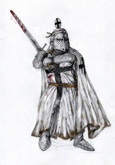 Rycerz z zakrwawionym mieczem
