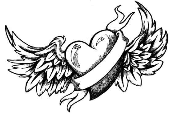 Serce Ze Skrzydłami I Wstążką