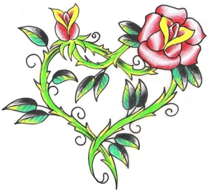 Serce z łodyg róży tatuaż wzór