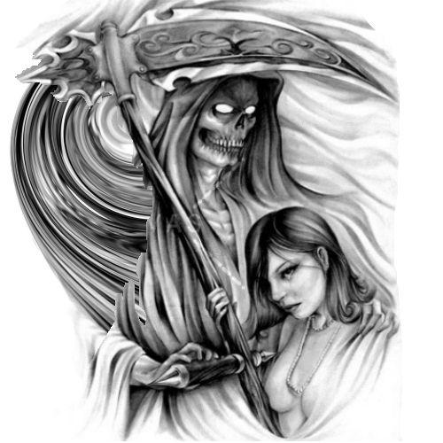 Śmierć z kosą i kobieta wzór tatuażu