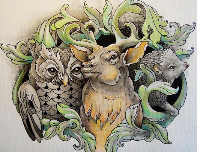 Sowa jeleń i jeż wzór tatuażu