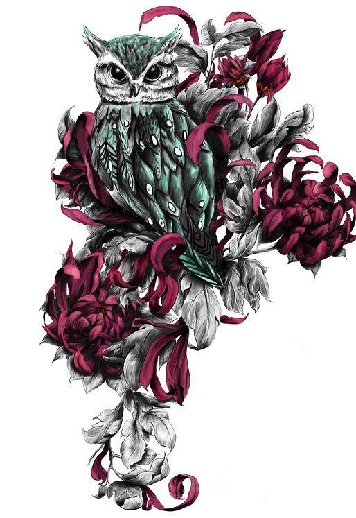 Sowa wśród kwiatów wzór tatuażu