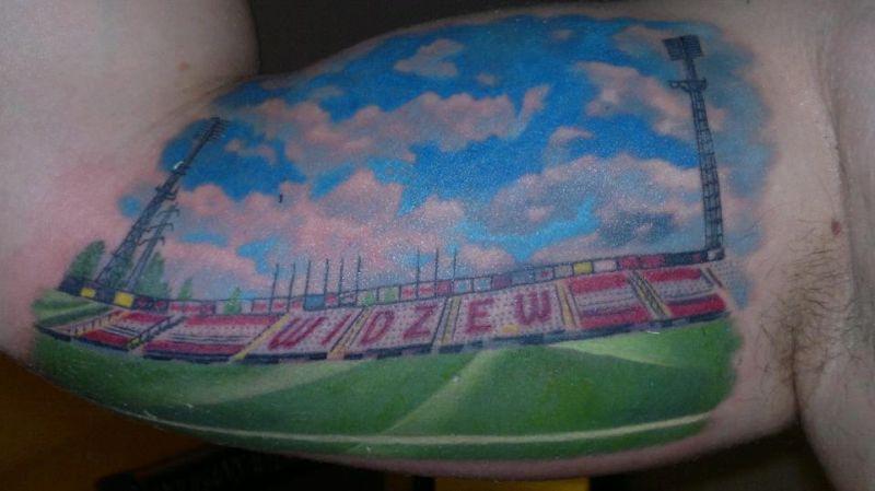 Stadion Widzew Łódź tatuaż