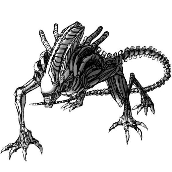 Szkielet potwora wzór tatuażu