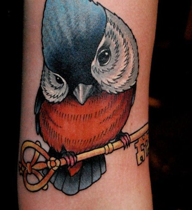 Ptak tatuaż kolor