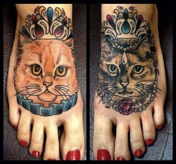 Tatuaże koty stopy
