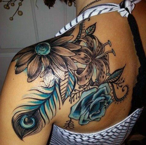 Tatuaż Kwiaty I Pawie Pióro