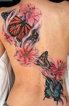 Tatuaż Motyle I Lilie