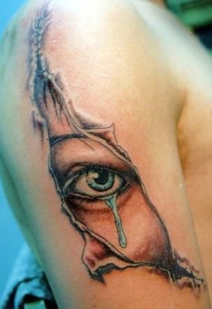 Tatuaż Oko Pod Rozdartą Skórą
