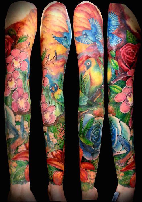 Tatuaż Z Pawiem W Kolorze