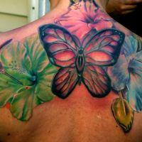 Kolorowe kwiaty koliber i motyl tatuaż