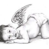 Aniołek dziecko wzór tatuażu